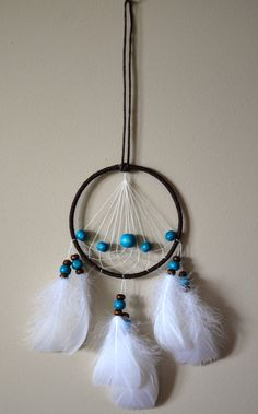 Brown Dream Catcher With Blue Wood Beads. by DreamySummerNights, $5.00