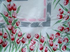 Vintage 1950s Pink Tulips Floral Tablecloth by BlackRain4 on Etsy