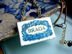 Portugal BRAGA  Blue Antique AZULEJO Tile Replica by Atrio on Etsy,