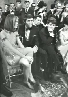 Sandie Shaw, winner of the Eurovision Song Contest 1967, during the voting with Udo Jürgens and Raphael