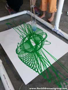 Pendulum painting. Very cool for STEM learning. I did this once at the Science Museum of Virginia years ago as a student on a field trip. Would love to recreate it as a classroom learning experience. Via The Children's Art Group: Meetup 22: Pendulum Painting.