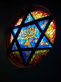 Bringing Chanuka light to a dark place. A stain glass window at a nursing home.