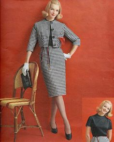 About as elegantly chic and perfectly timeless as houndstooth can get. 60's vintage fashion style suit dress skirt jacket color photo print ad model magazine 60s black white checks