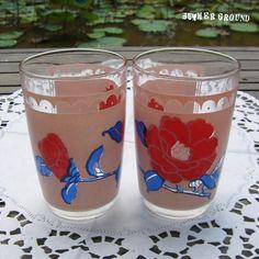 Vintage Floral Drinking Glass Set of 2