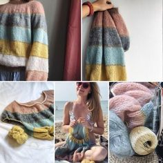 Fluffy fluffy sweater knitted by plummum Crochet Woman, Knit Crochet, Knitting Designs, Knitting Patterns, Fluffy Sweater, Arm Knitting, Knitting Accessories, Knitted Bags, Inspiration