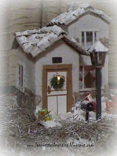 como hacer una casita navideña con cajas de leche - Buscar con Google