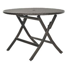Safavieh Ellis Round Brown Folding Table