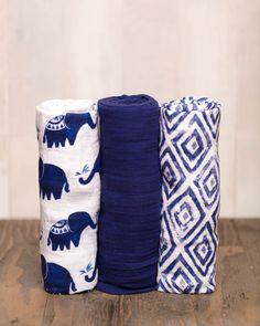 Muslin Swaddle Set, Indie Elephant
