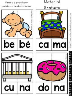 Syllabic puzzles to work on the construction of 2 syllable words Preschool Spanish, Spanish Lessons For Kids, Spanish Teaching Resources, Spanish Activities, Learning Websites For Kids, Educational Websites, Spanish Teacher, Spanish Classroom, Dual Language Classroom