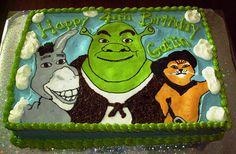 Shrek, Donkey and Puss Birthday Cake Girl Birthday Themes, Third Birthday, Boy Birthday Parties, Birthday Ideas, Shrek Cake, Lincoln Birthday, Character Cakes, Birthday Cupcakes, Childrens Party