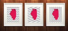 Northern Illinois University Set of Three Giclée Prints - 8x10 - NIU - Go Huskies. $37.00, via Etsy.