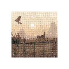 Designed by Phil Smith for Heritage Crafts' Silhouette series, this sepia toned design features the lucky escape of a bird who's escaped the paws of a cat. A gorgeous scene that is a perfect stitch for intermediate to advanced stitchers. Heritage Crafts, Cross Stitch Kits, Scene, Silhouette, Bird, Embroidery, Design, Cross Stitch, Gatos