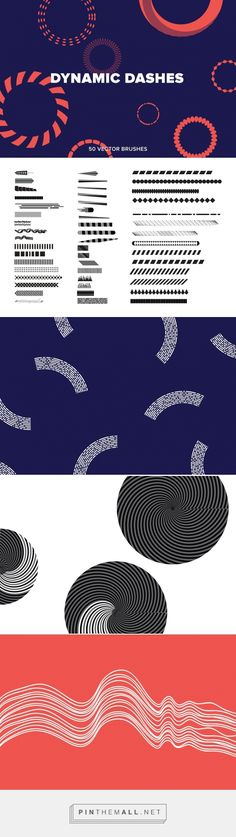 Dynamic Dashes - Extras - YouWorkForThem - This product download contains 50 Stock Brushes. Dynamic dashed segments and sequences of shapes make up this set of 50 brushes. Mixed shades and alternating geometries come with ordered contours and decorative linear forms. Designed by Michael Cina and YouWorkForThem. (affiliate)