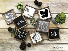 Rustic farmhouse style mini sign sets 2 3 or 4 you pick