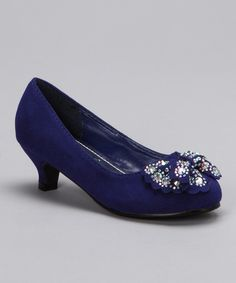 Take a look at the Diamond Footwear Blue Rhinestone Candy Kitten Heel on #zulily today!