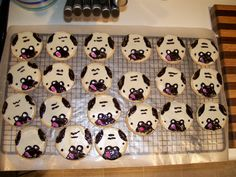 Pug Cookies (Decorated Sugar Cookies) Dog Party, Puppy Theme Party, Paw-ty, party