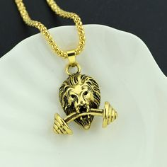 lion dumbbell necklace gym fitness sporty barbell pendant necklace for men fashion accessories - the Mens Fashion 2018, Men Fashion Show, Men Necklace, Pendant Necklace, Lion, Leggings, Gym Workouts, Fashion Accessories, Gym Fitness