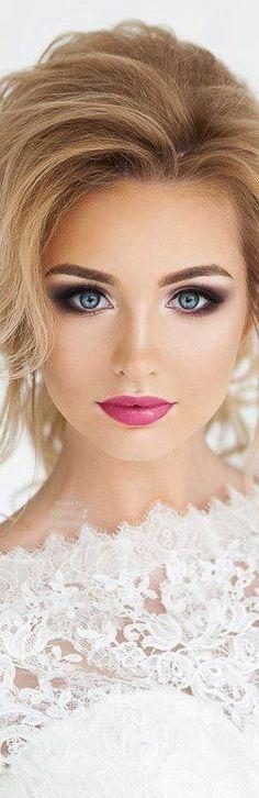 Beautiful makeup. It makes her eyes look so big and pretty. #naturalweddingmakeup