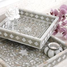 This Taj Mother of Pearl Inlay Square Tray by Zodax is the perfect entertaining accessory, suitable for any décor with its silver and pearl tones. Features an ornate, geometric design found in Indian artwork. Has neutral-colored, rich floral design Interior Plants, Interior Exterior, Interior Design, Arabesque, Decorative Objects, Decorative Boxes, Detail Architecture, Bliss Home And Design, Square Tray