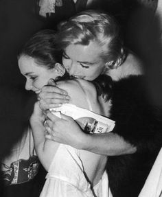 Marilyn congratulates Susan Strasberg backstage at The Diary of Anne Frank on opening night