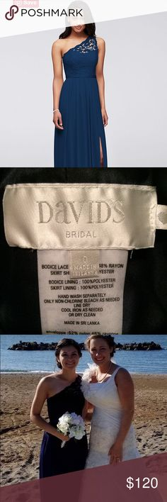 """David's Bridal size 0, Marine color. Davids Bridal bridesmaid dress, worn only to ceremony, not reception. 2"""" removed off the bottom during professional alteration. No additional alterations. Wore 3.25"""" heels with dress (I am 5'3) and the dress perfectly skimmed the floor, did not touch. Excellent condition! Worn only to ceremony and for pictures. David's Bridal Dresses Wedding"""