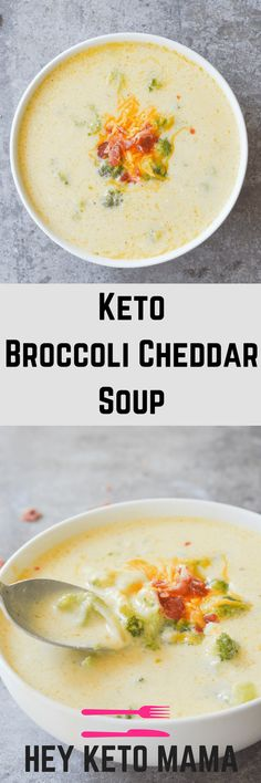 This Keto Broccoli Cheddar Soup is so yummy and filling, you won't even miss the potatoes! It's an excellent low carb option for any Fall meal! | heyketomama.com #DIETPLANS