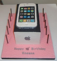 iphone cake on box 12th Birthday Girls, 15th Birthday Cakes, Happy 11th Birthday, Special Birthday Cakes, Birthday Cakes For Teens, Cool Birthday Cakes, Teen Cakes, Girl Cakes, Jasmine Birthday Cake