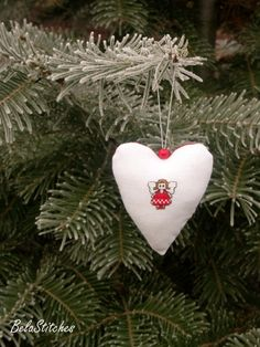 Christmas heart ornament with embroidered angel by BelaStitches