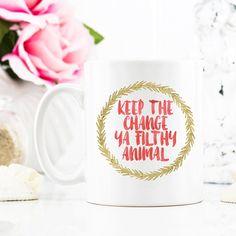 Keep the Change Ya Filthy Animal Coffee Mug, Christmas Mug, Red and Gold Mug, Funny Mug, Holiday Mug, Christmas, Birthday, Humor Mug