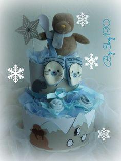 """Gâteau de couches - Diaper cake Thème """"Bébé phoque au pôle nord"""" : Décoration pour enfants par 3kg190 Cadeau de naissance original - Babyshower"""