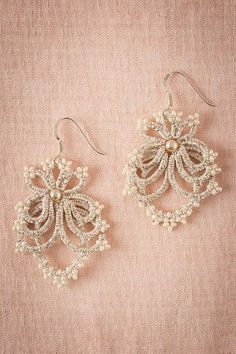 Choose vintage inspired jewelry from BHLDN, Anthropologie's wedding brand. Shop our collection of bohemian jewelry for the whole wedding party. Tatting Earrings, Tatting Jewelry, Lace Earrings, Lace Necklace, Lace Jewelry, Fabric Jewelry, Jewelry Crafts, Wedding Jewelry, Crochet Earrings