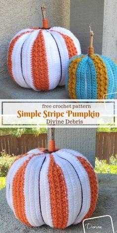 Hanging Around the Pumpkin Patch - Simple Stripe Pumpkin Amigurumi Crochet Simple, Crochet Fall, Holiday Crochet, Crochet Home, Crochet Crafts, Crochet Projects, Free Crochet, Crochet Ideas, Crochet Pumpkin Pattern