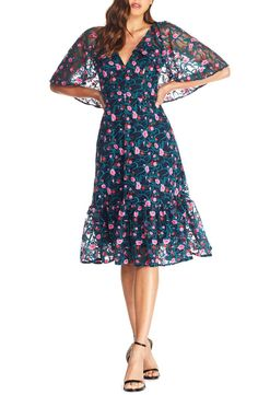 Dress the Population Virginia Cape Sleeve Embroidered Dress | Nordstrom
