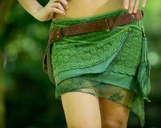 Gypsy Bohemian Hippie Skirt Green Festival by AryaClothing