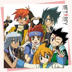 BeyBlade Characters as a band Kyoya and Nile are making a heart!