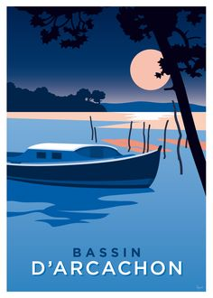 Arcachon basin poster, pinnace - This poster, with its variations of blue, depicts the very famous pinasse, symbol of the Arcachon b - Beach Illustration, Landscape Illustration, Poster S, Poster Prints, Poster Design, Art Deco Posters, Vintage Artwork, Art Deco Artwork, Festival Posters