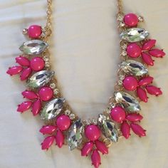 Pink Necklace Pink and crystal necklace Jewelry Necklaces