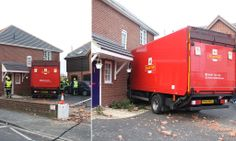 Royal Mail lorry destroys home in early morning crash #DailyMail