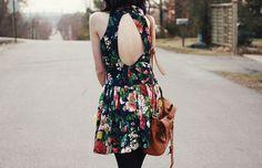 Floral , vintage , open back