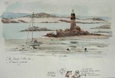 Beach Watercolor, Watercolor Sketch, Watercolor Illustration, Voyage Sketchbook, Basic Painting, Urban Sketchers, Sketches, Statue, Drawings