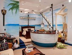 A pirate-themed bedroom!! Yes, please!! That bed makes me happy. :-)