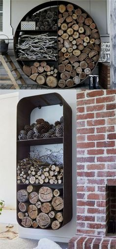 15 firewood storage and creative firewood rack ideas for indoors and outdoors. Lots of great building tutorials and DIY-friendly inspirations! - A Piece Of firewood storage and creative firewood rack ideas Wood Storage Rack, Diy Storage, Outdoor Storage, Rack Shelf, Cheap Storage, Patio Storage, Fire Wood Storage Ideas, Indoor Log Storage, Creative Storage