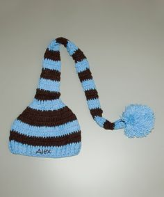 Take a look at this Blue & Brown Stripe Personalized Pom-Pom Beanie on zulily today! I want one in crazy colors!