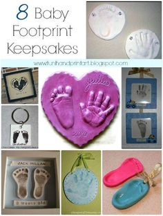 8 Baby Footprint Keepsakes