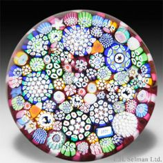 John Deacons 2014 close packed millefiori in a stave basket paperweight. - Paperweights - John Deacons - The Glass Gallery