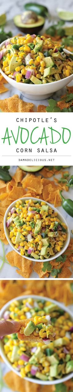 #Copycat Chipotle Avocado Corn Salsa, so good on everything! With chips, on a taco, you name it, this stuff is great! @damndelicious