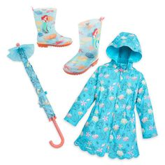 Let your little mermaid spend rainy days warm and dry with this collection that magically changes design when it gets wet. She'll love the coordinating Ariel Color Changing Rain Jacket, Ariel Color Changing Umbrella, and Ariel Rain Boots.