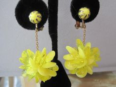 Vintage Yellow Plastic  Dangle Earrings by VintagObsessions, $12.00