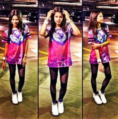 Look For Less: Zendaya Coleman in Topshop Escapology Cloud Color Tee, Black Mesh Leggings and Nike Air Jordan Retro 5 Grape Sneakers