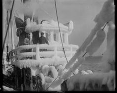 Ice covered pilot house of trawler 1935-01